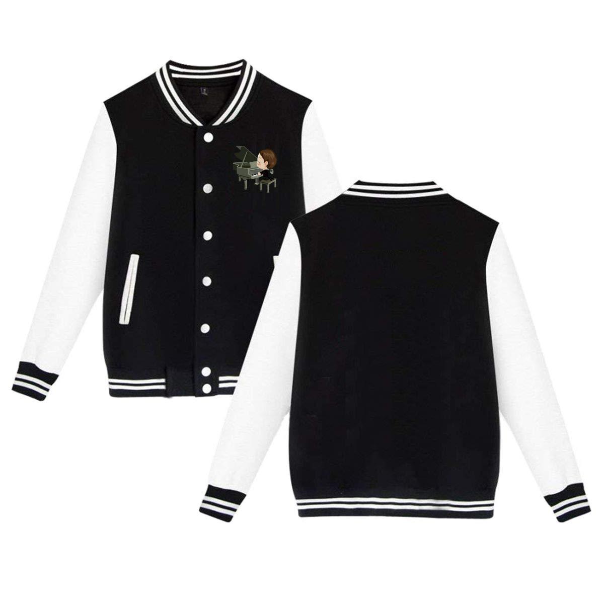 Mcdisjh.greioh Freddie Mercury Peanuts Playing Piano Baseball Uniform Jacket Unisex Coat Sweater Sweatshirt