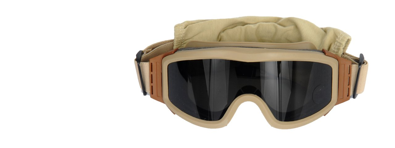 Lancer Tactical Airsoft Safety Goggles Basic with Multi Lens Kit - Smoke, Clear and Yellow Lens (Tan) by Lancer Tactical