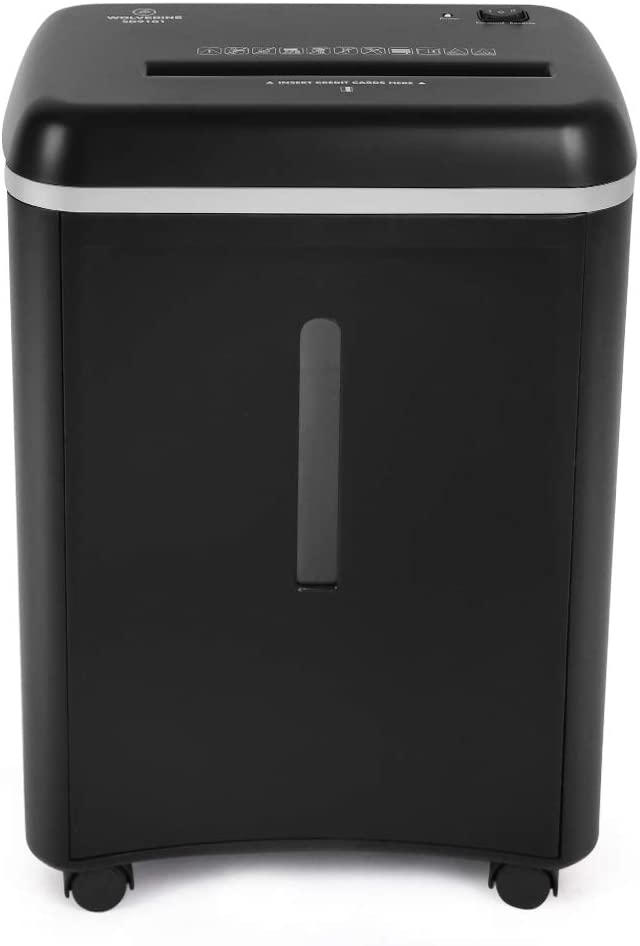 WOLVERINE 8-Sheet Super Micro Cut High Security Level P-5 Ultra Quiet Paper/Credit Card Home Office Shredder with 4.5 gallons Pullout Waste Bin SD9101 (Black)
