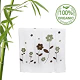 Baby Bath Towel Extra Soft from Bamboo,Warm Blanket Super Size(27.56''x51.18'')by L-Liang,for Infant and Toddler(0-6yrs),(White,Plant Pattern))