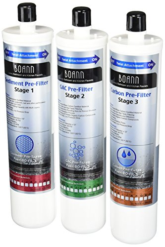 BOANN RO-1YPK 6 Month Filter Pack for RO Water Filtration System with Sediment Pre-Filter, GAC Pre-Filter and Carbon Pre-Filter, (3 filter per set), Set of 2