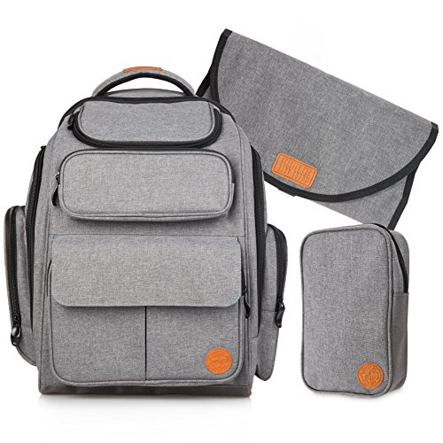 Large Baby Diaper Bag Backpack: Travel Bags for a Boy or Girl, Mom & Dad – Grey