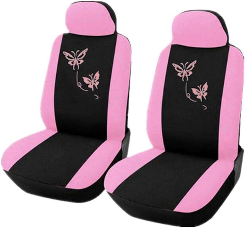 Universal Seat Cover Purple Pink Butterfly Embroidery Women 4 Pcs 9 Pcs Set Pink