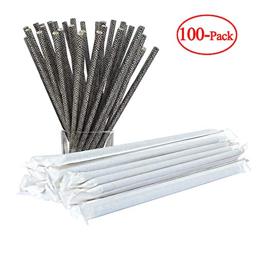 (Giftgarden Individually Wrapped Paper Straws Biodegradable 100 Pcs Bulk Drinking Straw for Birthdays, Weddings, Baby Showers, Parties and Celebration, Black)