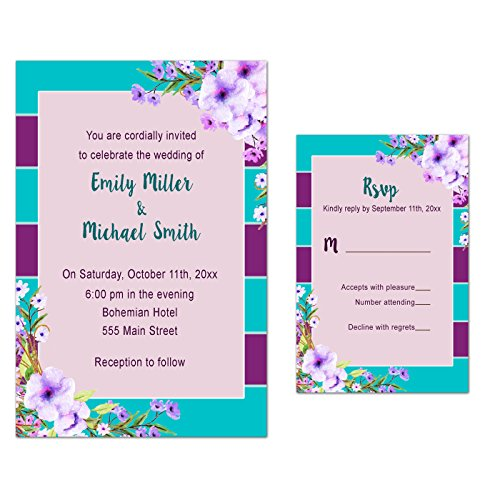Stripes Invitation Kit (100 Wedding Invitations Boho Floral Purple Turquoise Design + Envelopes + Response Cards Set)