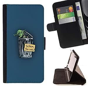 KingStore / Leather Etui en cuir / Samsung Galaxy S5 Mini, SM-G800 / Divertido Hobo Yoda