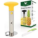 Premium Product Stainless Steel Pineapple Corer Slicer Peeler and Cutter | Core Remover + GIFT Fruit & Vegetable Multi-function Peeler + BONUS recipes eBook, 3 in 1 Kitchen Tool Best Present (Yellow)