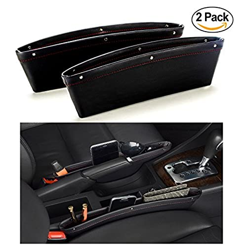 Car Seat Gap Filler U0026 Pocket Organizer   Between Seat And Console   Premium  PU Leather Caddy For Automotive Interior Accessories   Side Seat Catcher  (2Pcs)