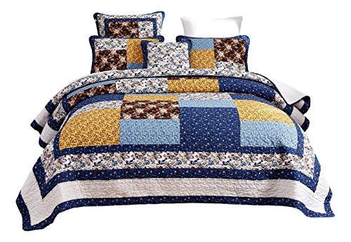 Family Farm Quilts - Tache Prairie Garden Sunset Floral Blue Yellow Farmhouse Cotton Patchwork Quilt Bedspread Set Cal King
