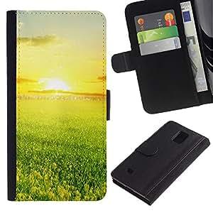 ZONECELL Imagen Frontal Negro Cuero Tarjeta Ranura Trasera Funda Carcasa Diseño Tapa Cover Skin Protectora Case Para Samsung Galaxy Note 4 SM-N910 - verde y la puesta de sol