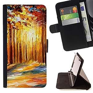 Momo Phone Case / Flip Funda de Cuero Case Cover - Pintura Abstracta Goldern Bosque;;;;;;;; - Sony Xperia Z3 D6603