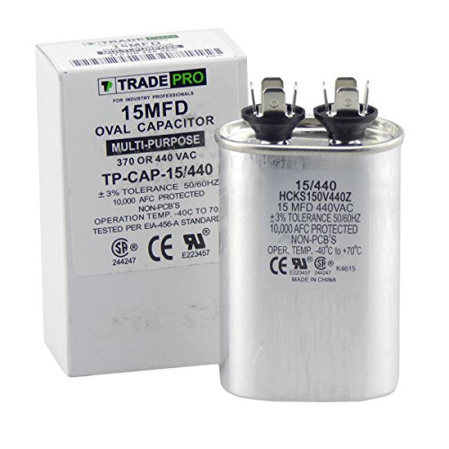 TradePro 15 MFD 370/440 Volt Oval Run Capacitor ()