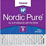 Nordic Pure 18x18x1 MERV 8 Pleated AC Furnace Air Filters, 18x18x1M8-6, 6 Pack