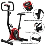 Goplus Upright Bike Exercise Bike Bicycle Exerciser Magnetic Stationary Fitness Cycle Cardio Aerobic Equipment (Black + Red)