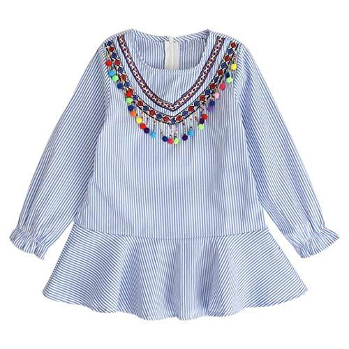 liberalism Fashion Autumn Toddler Kids Girl Tassel Striped Robe Fille Ruffles Princess Party Dress 130