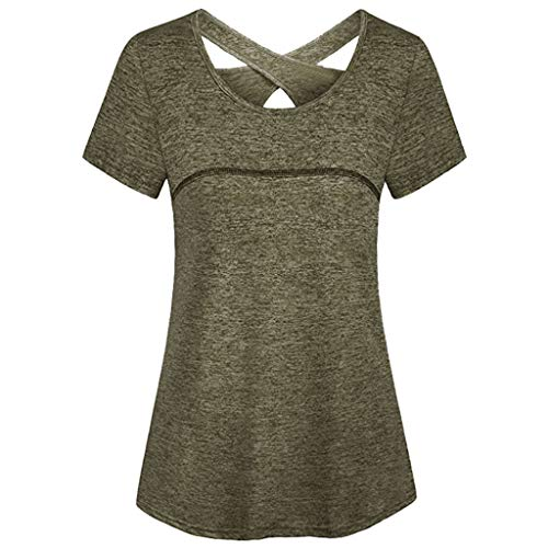 RIUDA Women's Round Neck Back Cross Bandage Lace-Up Short Sleeve Athletic Yoga Shirt Green