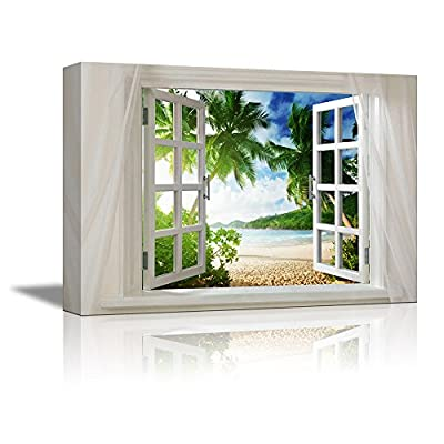 Marvelous Work of Art, Glimpse into Beautiful Tropical Beach with Palm Trees Out of Open Window Wall Decor, Premium Creation