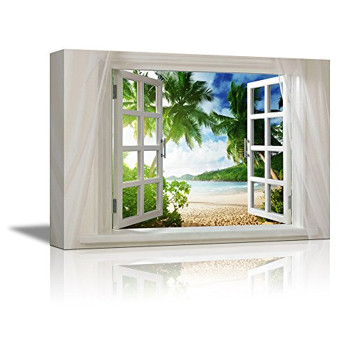 Glimpse into Beautiful Tropical Beach with Palm Trees out of Open Window Wall Decor ation