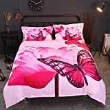 Beddingin Butterfly Pink Cotton Bed Sets 3d Deep Pockets Fitted Sheet Duvet Covers With Zipper Flower Flat Sheet Breathable(KING)
