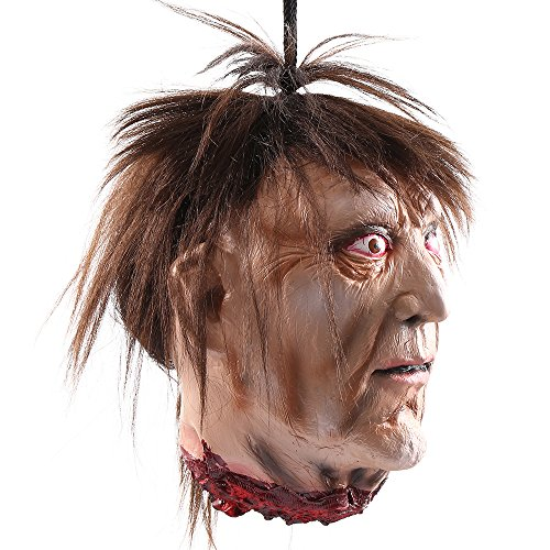 Wrightus Halloween Decorations Scary Hanging Severed Head Props,Life-Size Bloody Cut Off Corpse Head Ghost Animated Zombie Head Haunted Houses Party Decor Funny Festive Supplies by Wrightus