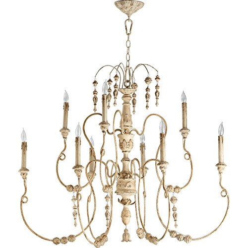 Quorum Salento 9 Light Up Chandelier in Persian White