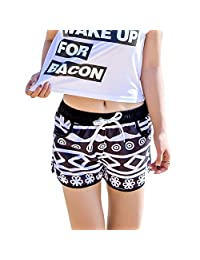 Uskincare Women's Quick Dry Board Shorts Printed Beach Swim Wear Surfing Holiday Casual Pants