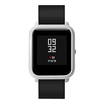 Carcasa protectora para pantalla de reloj inteligente, de Y56, con moldura monocolor, compatible con Huami Amazfit Bip Younth, color plateado: Amazon.es: ...