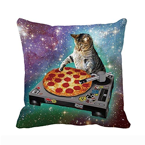 UOOPOO Food Funny Creative Hipster DJ Cat Pizza Cat Galaxy Pizza Cat Design Zippered Polyester Pillow Case 18 x 18 Inches One Side Printed