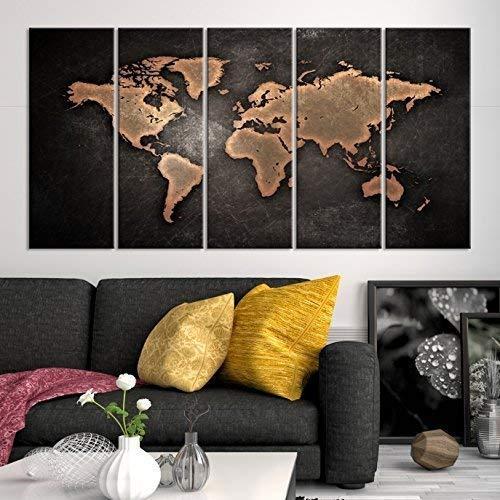 Amazon.com: 5 Panel Black World Map Canvas Print, Brown World Map ...