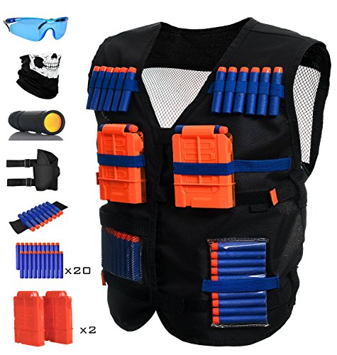 Tithanium Tactical Vest Kit – Complete Set Of Nerf Jacket, Waist Gun Holder, 2 6-Dart Quick Reload Clips, Skeleton Mask, Protective Glasses, Wrist Band & 20 Soft Refill Bullets – Monocular Included by Tithanium