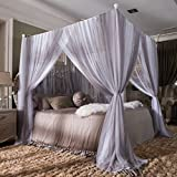 Four Poster Bed King Gatycallaty Double Four Corner Mosquito Net + Stainless Steel Bed Frame Poster;Priceness 4 Corner Bedding Curtain Canopy for Metal Bed (Grey, King)