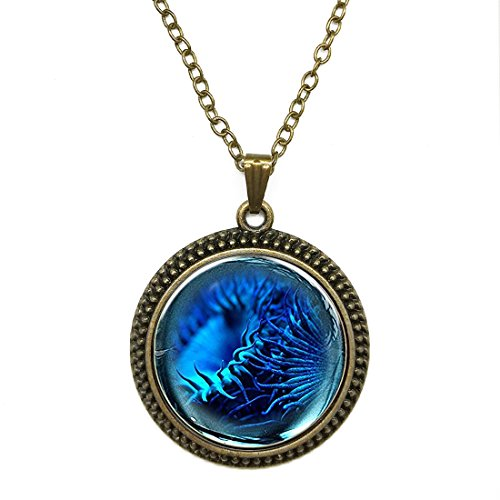 - Mysterious Time Gem Pendant Chain Necklace Blue Sea Urchin Pendant Necklace Chain Glass by T&H Home