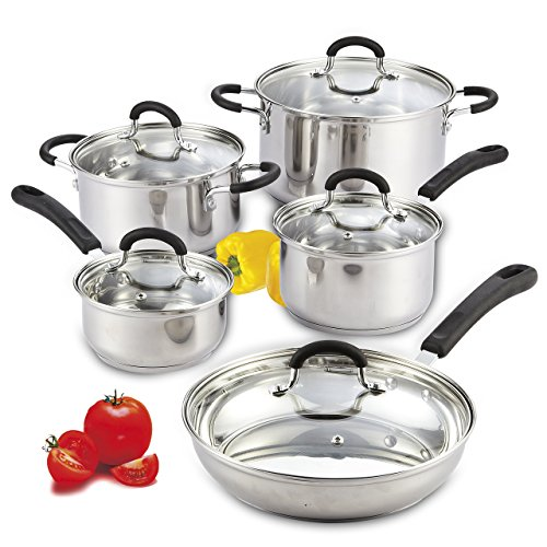 Cook N Home 10-Piece Stainless Steel Cookware Set (Renewed)