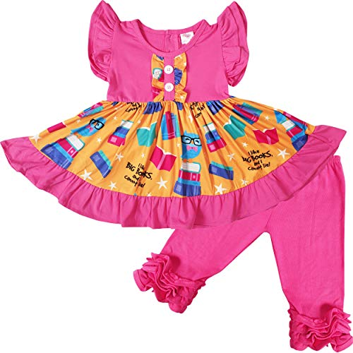 Toddler Little Girls Back to School Crayons Books Tunic Top Ruffles Capri Set Hot Pink 12-14/6XL (Best Outfits For Back To School)