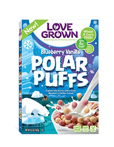 Love Grown Foods Kids Cereal, Polar Puffs/Blueberry Vanilla, 6.5 Ounce, 6 Count