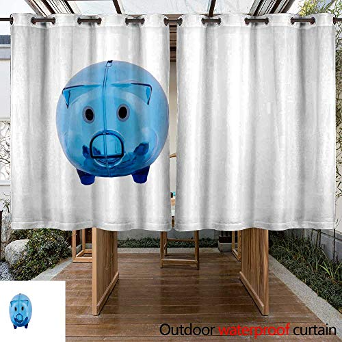 WinfreyDecor Outdoor Curtains for Patio Waterproof Piggy Bank in W96 x L72 ()