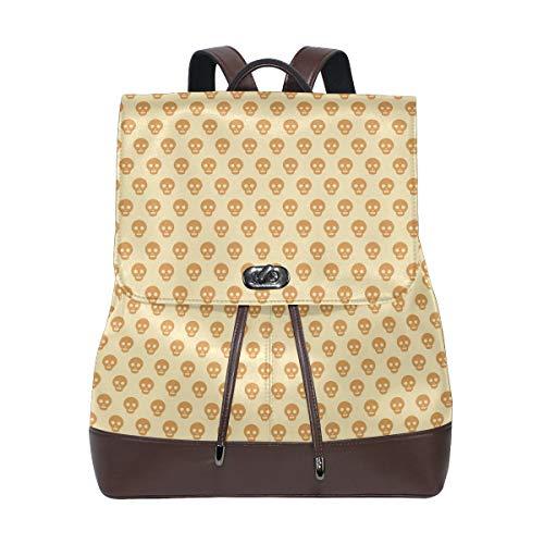 Leather Halloween Skull Khaki Backpack Daypack Bag Women ()