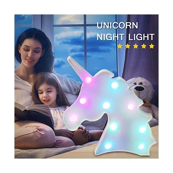 AIZESI Unicorn Marquee Light Night Light Wall Room Decor,Desk Table Lamp,Kids Gift for Birthday Xmas Colorful Unicorn Night Light Led Lamp