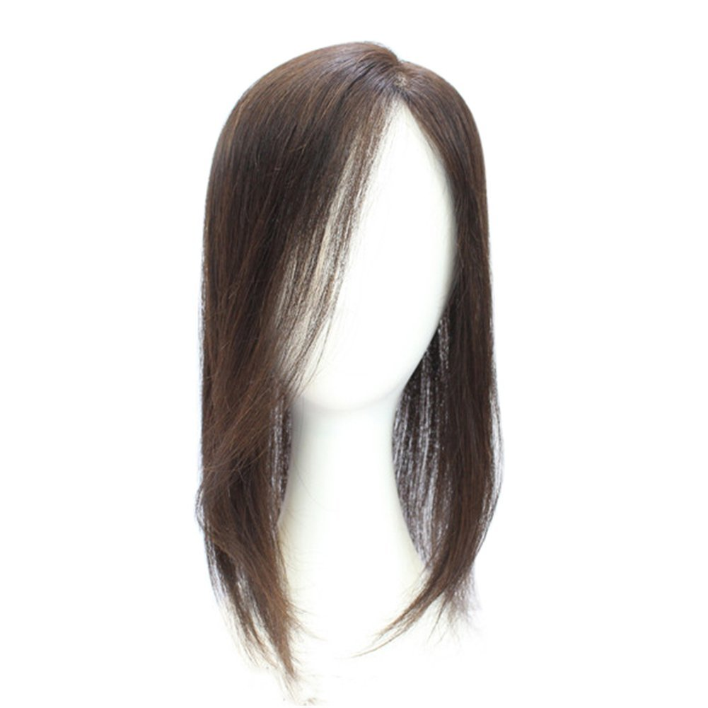 Remeehi 15'' Hand Tied Real Human Hair Toppers Top Pieces Closure for White and Thinning Hair (Straight Natural Black)