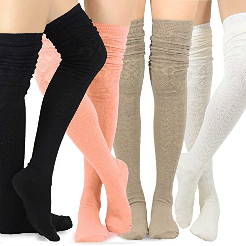 Teehee Women's Fashion Extra Long Cotton Thigh High Socks - 4 Pair Pack (Pointelle) (Thigh High Socks)