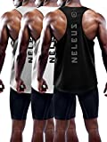 Neleus Men's 3 Pack Dry Fit Athletic Muscle Tank Workout Gym Shirt,5031,Black,Grey,White,L,Tag XL