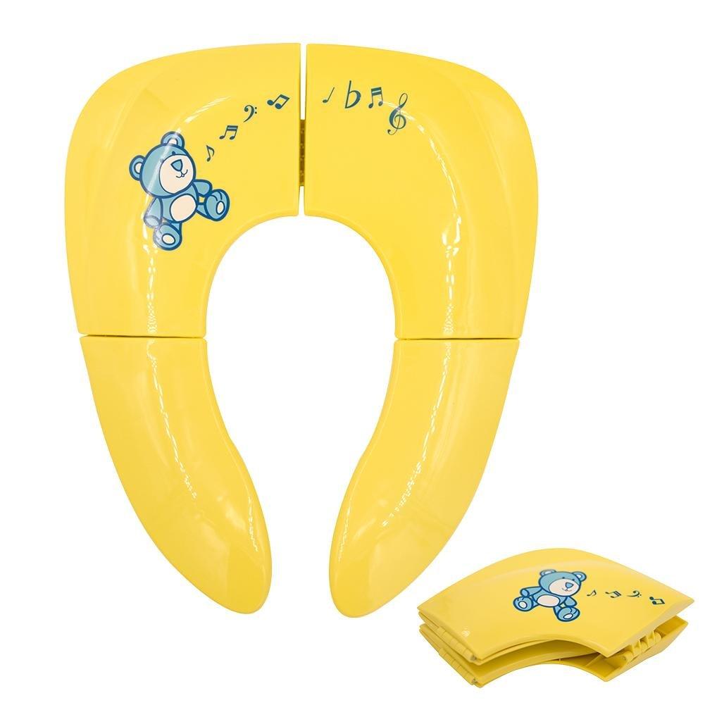 Hearthrousy Bébé Réducteur de Toilette Pliable Réutilisables Siège de Toilette Portable Antidérapant Silicone Adaptateur WC en Plastique pour Enfants avec Sac de Transport