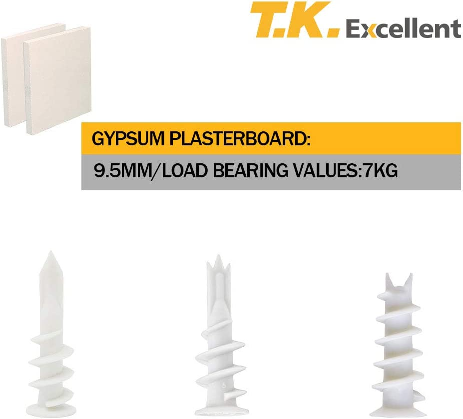 T.K.excellent Nylon Self Drilling Anchor Plasterboard Fixings with Screw Kit,100pcs