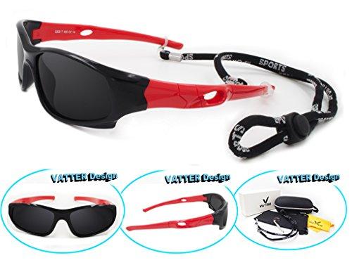 VATTER TR90 Wayfarer Polarized Sport Sunglasses For Kids Boys Girls Chilrens 816blackred