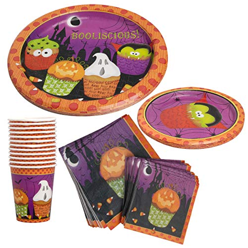 Party House (94 Piece Halloween Set Paper Cups, Plates, Napkins Event Supplies for Parties Kids -