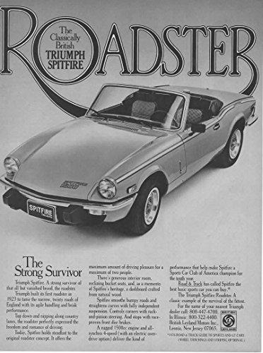 "Magazine Print Ad: 1978 The Classically British Triumph Spitfire Roadster 1500cc,""The Strong Survivor"""