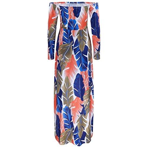 Bekleidung Longra Damen Sommerkleid Kleider Maxikleid Blume Langarm  Schulterfrei Boho lang Kleid Partykleid Strandkleider Multicolor U2zN1A ... 2bfbf703e9