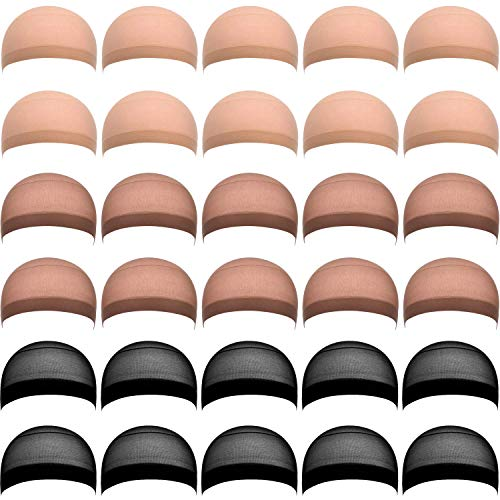 (eBoot 30 Pieces Nylon Wig Caps for Women and Men (Skin, Black, Light Brown))