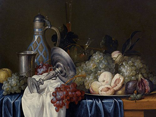 """STILL LIFE WITH GRAPES PEACHES FIGS by Alexander Coosemans glass tray Accent Tile Mural Kitchen Bathroom Wall Backsplash Behind Stove Range Sink Splashback One Tile 10""""x8"""" Ceramic, Glossy"""