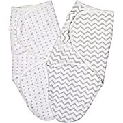 Swaddle Blanket Adjustable Infant Baby Wrap Set 2 Pack (3-6 Months, Grey Chevron & Dots)
